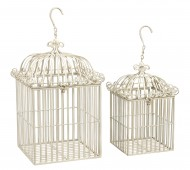 Square White Bird Cage